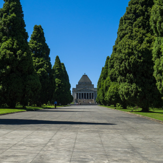 """""""Path leading to Shrine of Remembrance, Kings Domain park, Melbourne, Victoria, Australia. The Shrine of Remembrance is one of Australias largest war memorials dedicated to the people who served in and were affected by World War I and II. It was officially"""" stock image"""