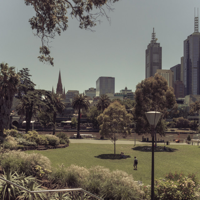 """Desaturated split toned image of Melbourne city skyline by Alexandra Gardens, Melbourne, Victoria, Australia"" stock image"