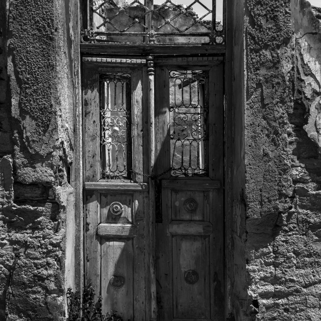 """A Doorway in Ermoupoli."" stock image"