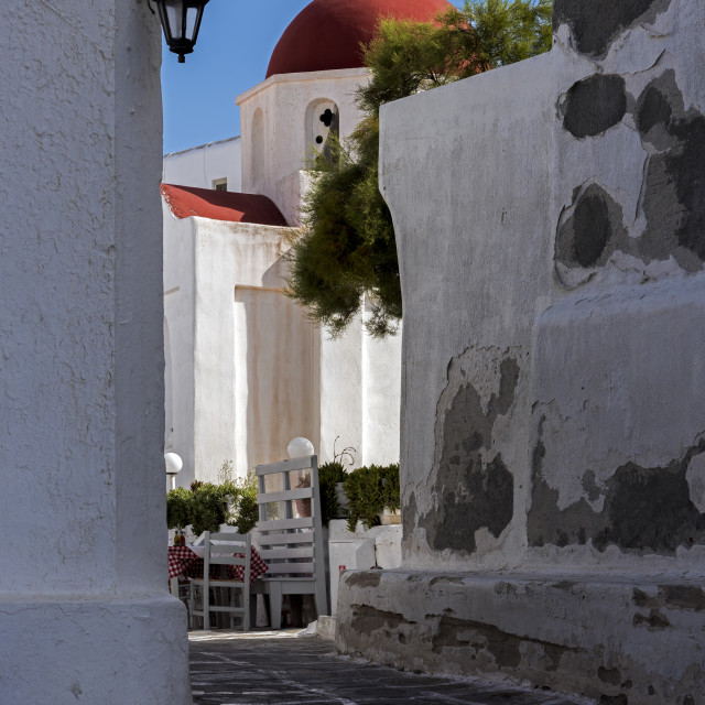 """A Small Church in Mykonos Town."" stock image"
