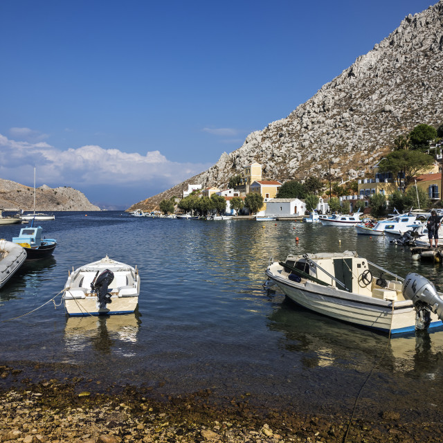 """Boats moored at Pedi Bay"" stock image"