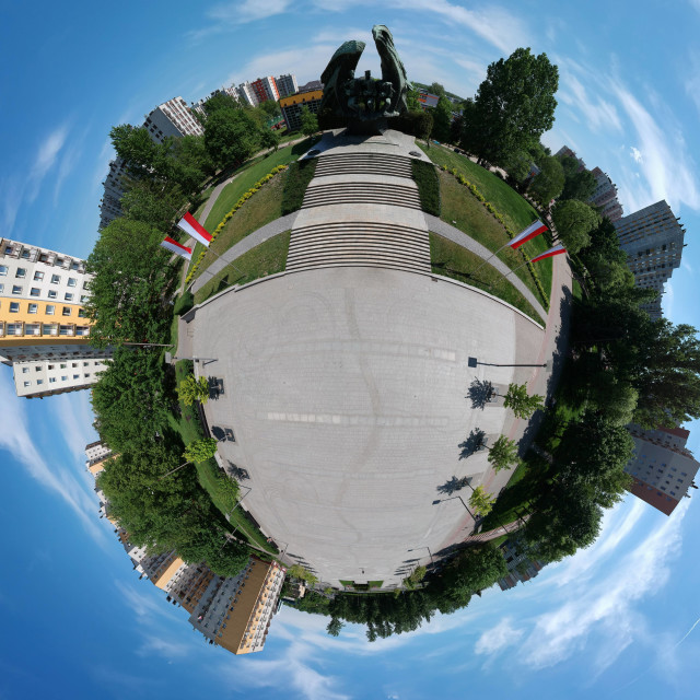 """Tiny Planet | Katowice"" stock image"
