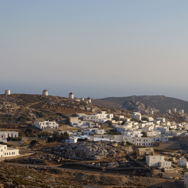 """""""The settlement of Chora up in the mountains of Amorgos"""" stock image"""
