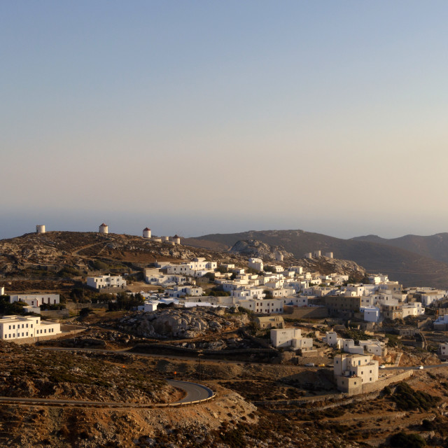 """""""Sunset in Amorgos Chora, in Cyclades"""" stock image"""
