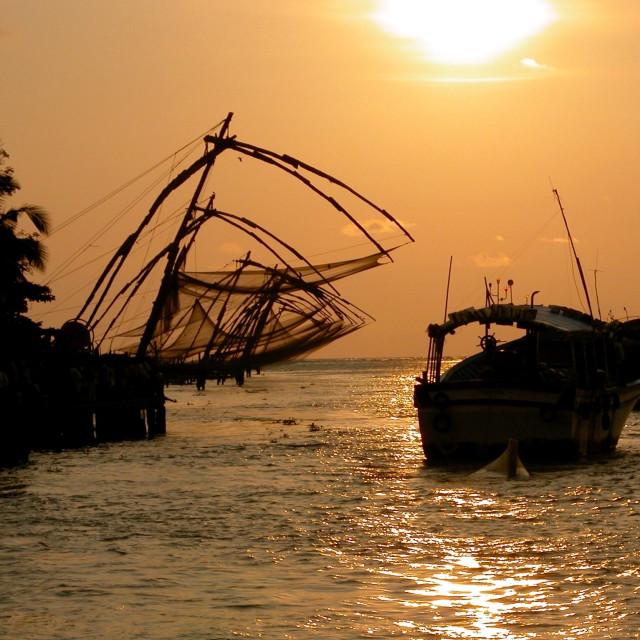"""Fishing nets in Kochi"" stock image"
