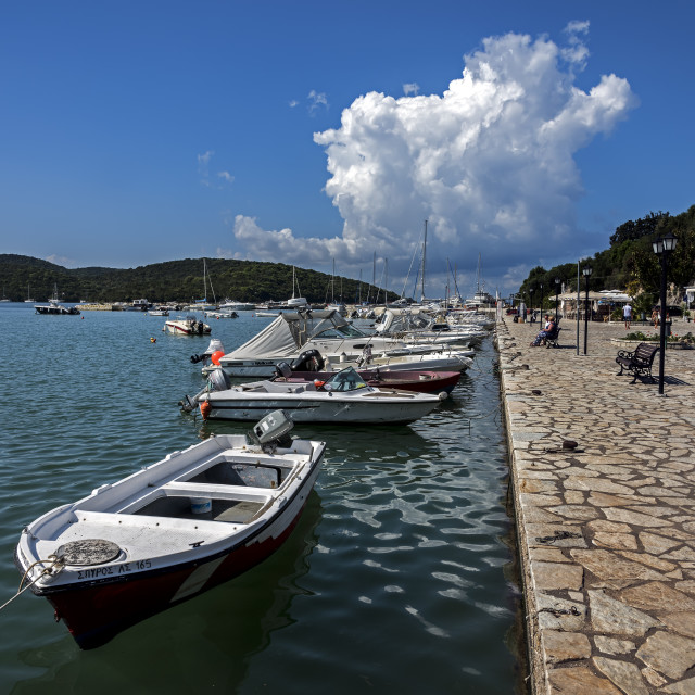 """Boats moored at Sivota Harbour."" stock image"