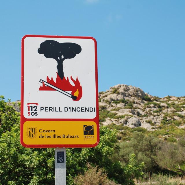 """Fire risk sign, Majorca"" stock image"