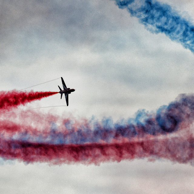 """The Red Arrows in smoky sky"" stock image"