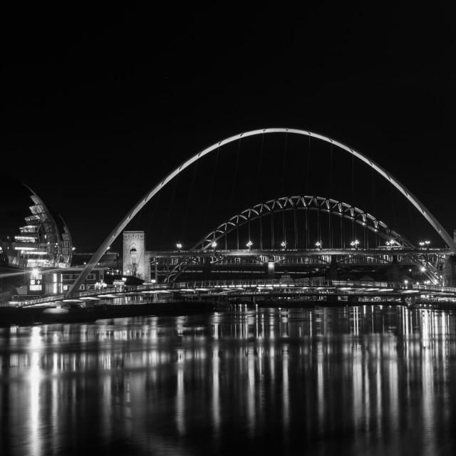 """The tyne Bridges at night"" stock image"
