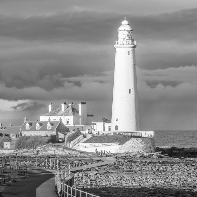 """""""St. Mary's Island is a small sandstone island near the seaside resort of Whitley Bay, Tyne and Wear, England. It is a Local Nature Reserve.[ St. Mary's Island was originally called Bates Island, Hartley Bates or Bates Hill as it was originally owned by t"""" stock image"""