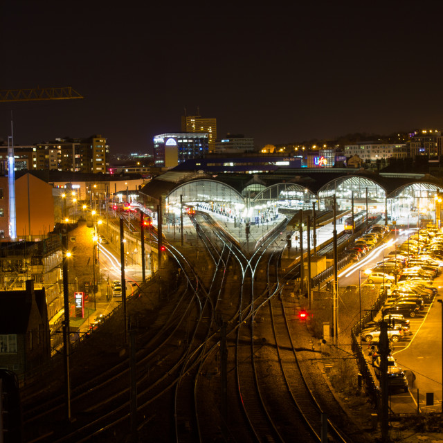 """""""Newcastle central station at night"""" stock image"""