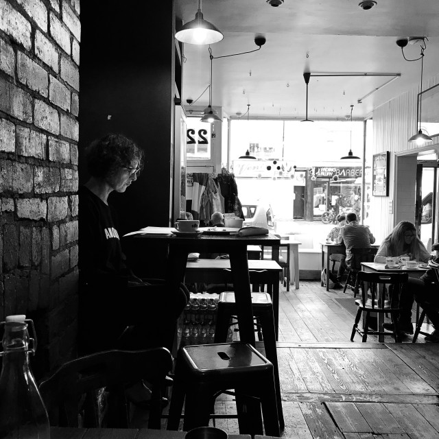 """Woman reading in cafe"" stock image"