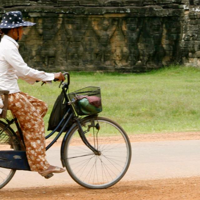 """""""Cyclist at Ankor Wat"""" stock image"""