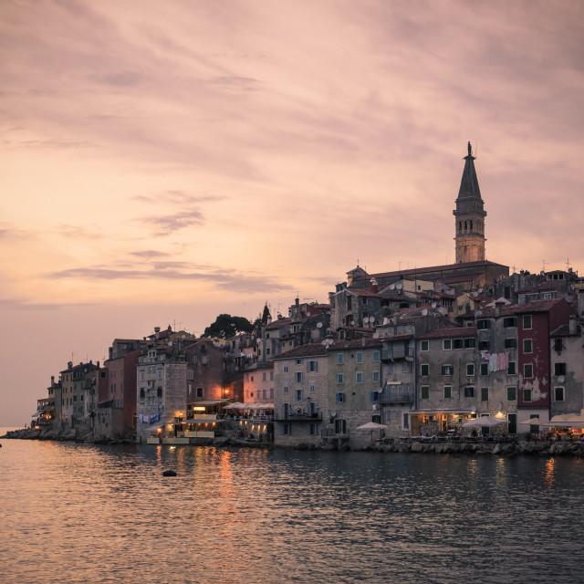 """Rovinj old town sunset, Croatia"" stock image"