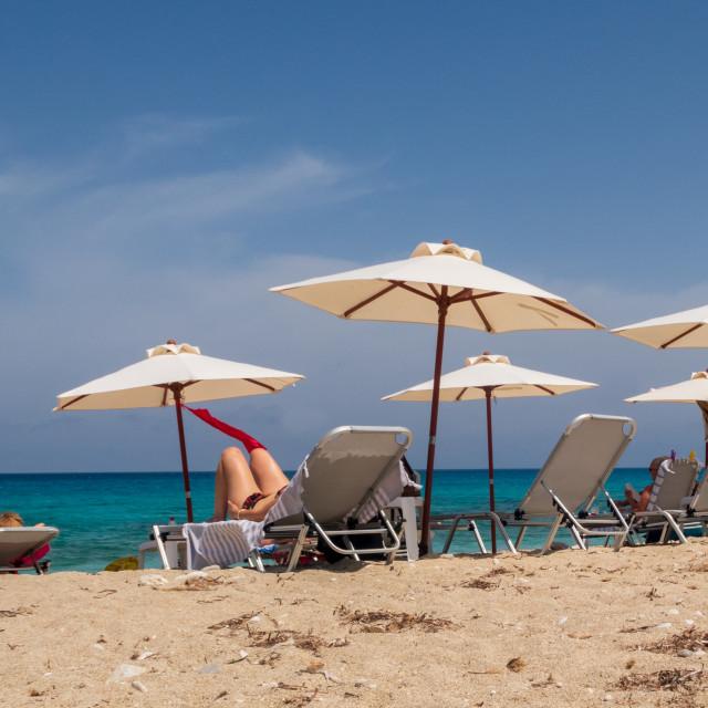 """Sun loungers on the beach"" stock image"