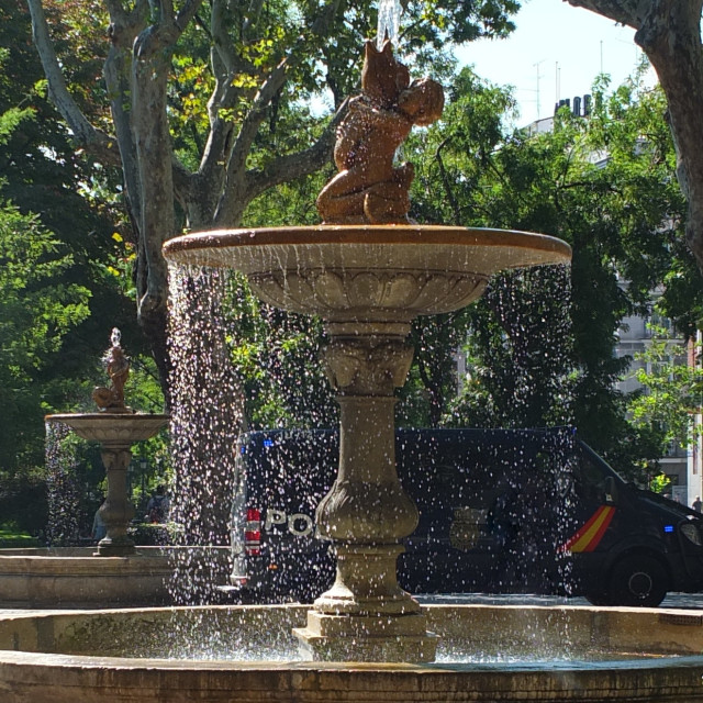 """Fountain In Front Of Prado Museum, Madrid"" stock image"