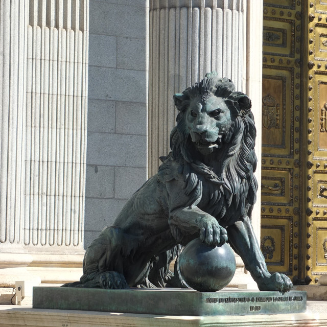"""Valvarde, Lion of Madrid's Congress Building"" stock image"