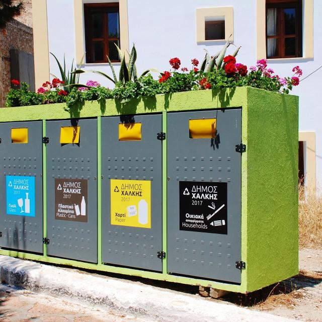 """Household waste recycling bins, Halki"" stock image"