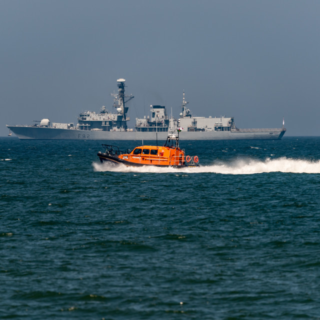 """HMS Somerset with Lifeboat"" stock image"
