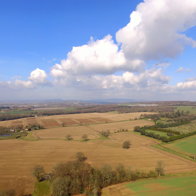 """Aerial shot of the rural landscape of West Sussex."" stock image"
