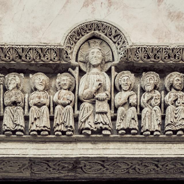 """Jesus Christ and the twelve apostles"" stock image"