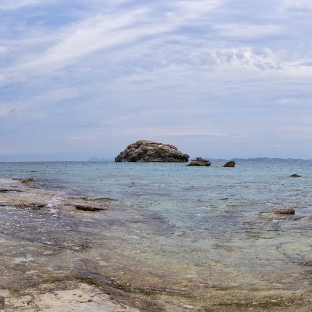 """""""Panoramic beach view in Paxos, Greece."""" stock image"""