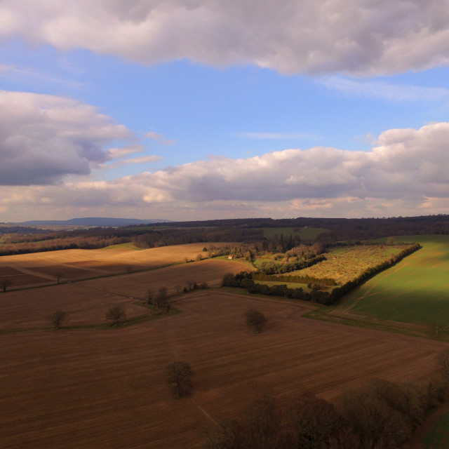"""Aerial photograph of Sussex farmland."" stock image"