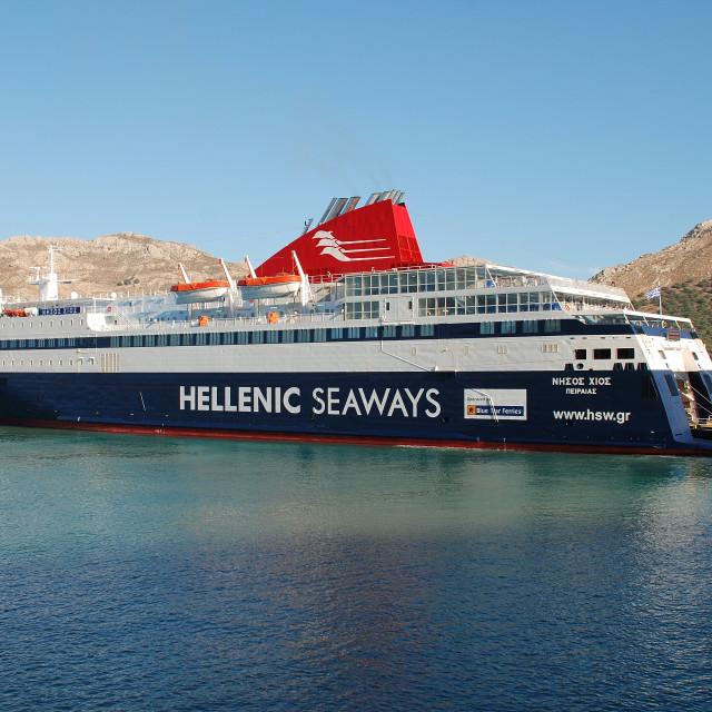 """Nissos Chios ferry, Tilos"" stock image"