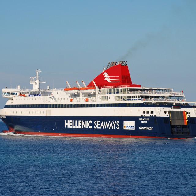 """Nissos Chios ferry, Greece"" stock image"