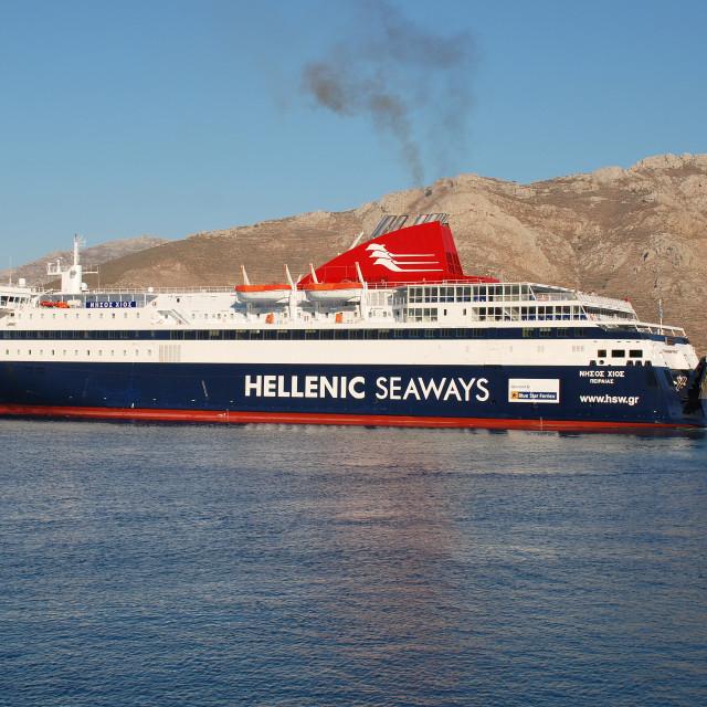 """Nissos Chios ferry, Tilos island"" stock image"
