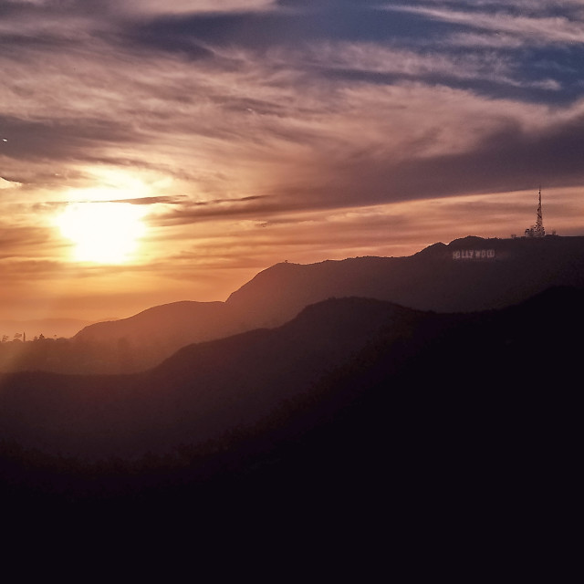 """Sunset over Hollywood"" stock image"