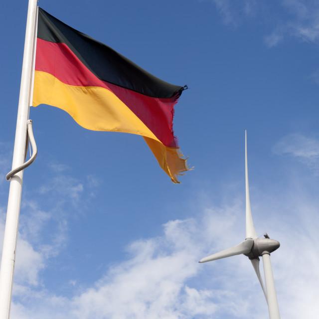 """""""Eemshaven The Netherlands German flag and wind turbine. Deutsche Flagge und..."""" stock image"""