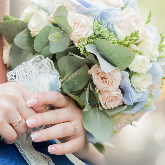 """""""flower, bouquet, love, day, valentine, marriage, background, hymeneal, rings,..."""" stock image"""