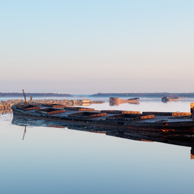 """""""Rusty barges"""" stock image"""