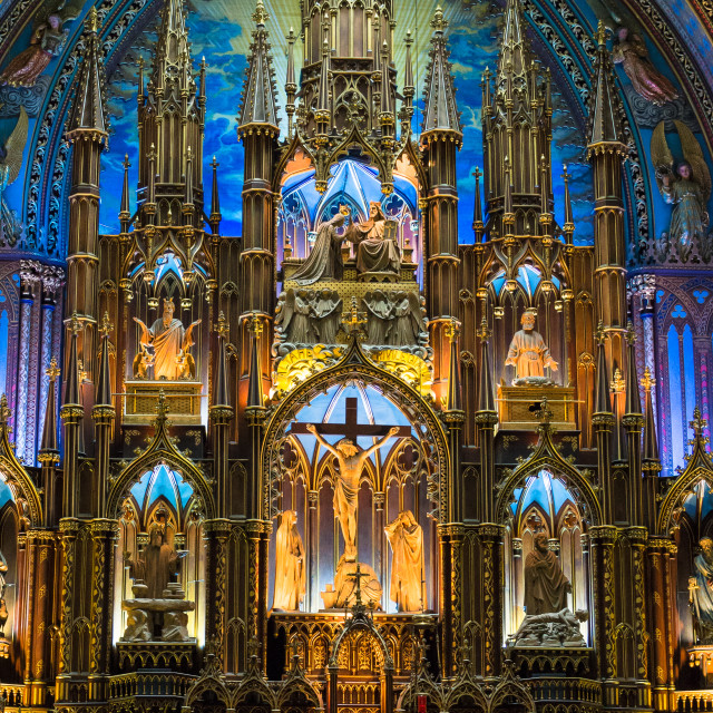 """""""The altarpiece of the Notre Dame Basilica in Montreal, Canada"""" stock image"""