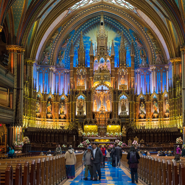 """""""Wide shot of the interior of the Notre Dame Basilica in Montreal"""" stock image"""