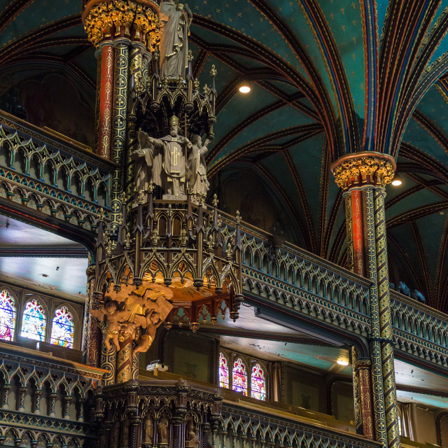 """""""The Pulpit inside the Notre Dame Basilica Montreal, Canada"""" stock image"""