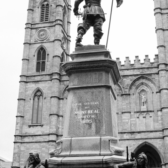 """""""Maisonneuve Monument in front of the Notre Dame Basilica Montreal on Place d'Armes, Montreal, Canada"""" stock image"""