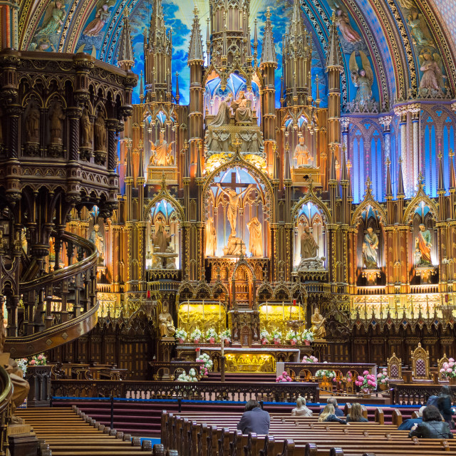 """""""Inside the Notre Dame Basilica Montreal, Canada"""" stock image"""
