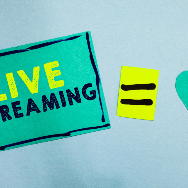 """""""Handwriting text Live Streaming. Concept meaning Transmit live video coverage..."""" stock image"""