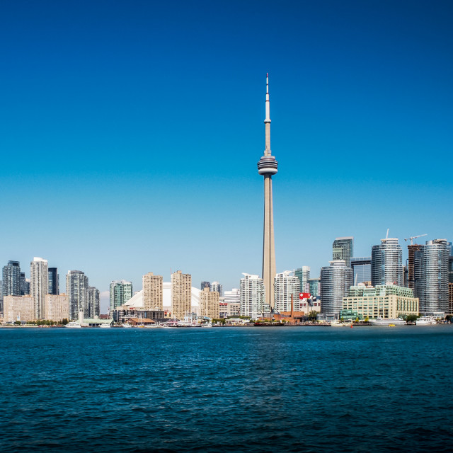 """""""The towering CN Tower in Toronto, Canada. One of the worlds' tal"""" stock image"""