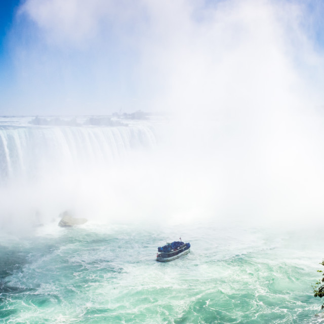 """Maid of the Mist boat at the base of Horseshoe Falls, Niagara -"" stock image"