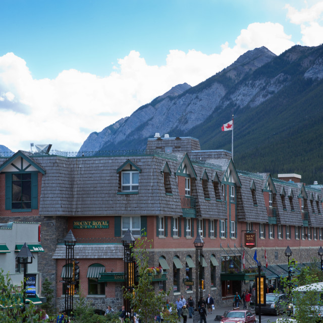 """""""Mount Royal Hotel in downtown Banff - Alberta, Canada"""" stock image"""