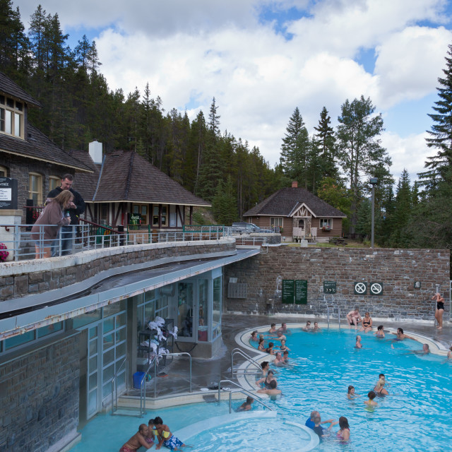 """""""Poolside at the Banff Upper Hot Springs in Banff National Park -"""" stock image"""