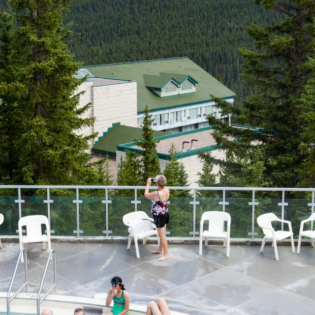 """""""Taking in the view at the Banff Upper Hpt Springs in Banff Natio"""" stock image"""