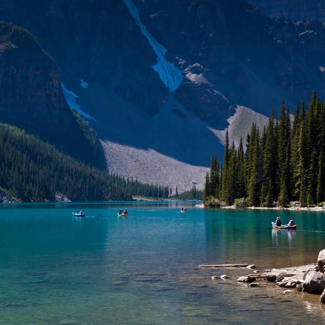 """Boating on Moraine Lake - Alberta, Canada"" stock image"