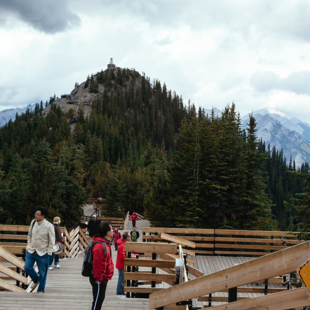 """Banff Skywalk on the summit of Sulphur Mountain leading to Sanso"" stock image"