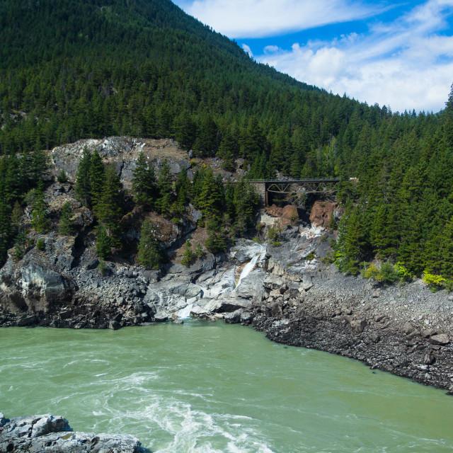 """Skuzzy Creek Bridge by the Fraser river - British Columbia, Cana"" stock image"