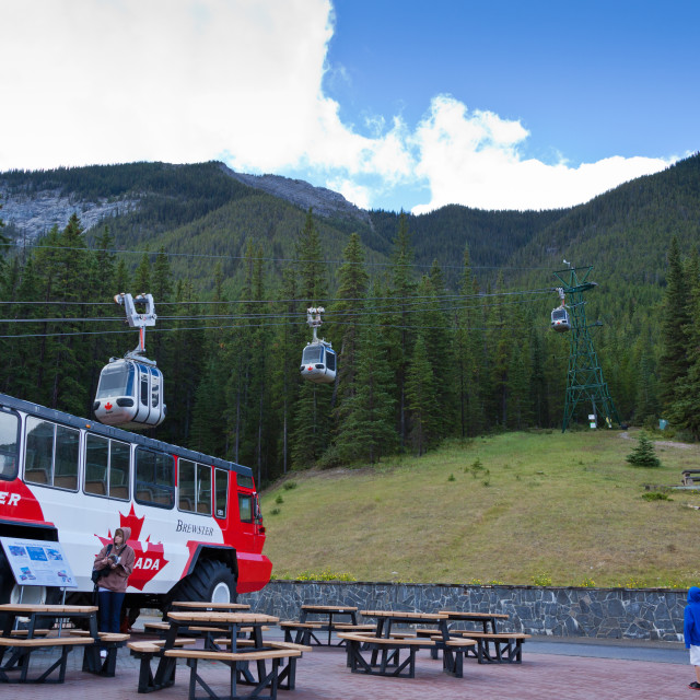 """Banff Gondola ride on Sulphur Mountain - Alberta, Canada. The jo"" stock image"