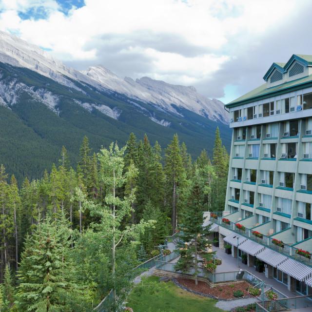 """View of the Rockies from Rimrock Resort Hotel in Banff - Alberta"" stock image"